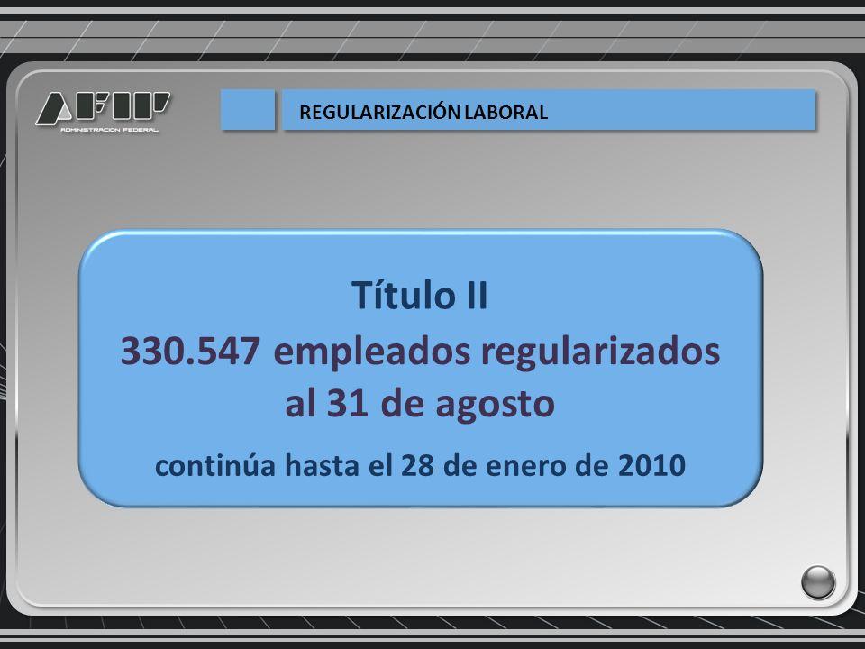 330.547 empleados regularizados al 31 de agosto continúa hasta el 28 de enero de 2010 Título II