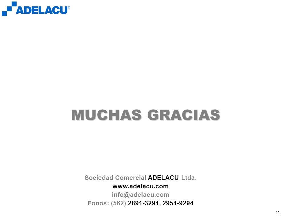 www.adelacu.com 11 MUCHAS GRACIAS Sociedad Comercial ADELACU Ltda. www.adelacu.com info@adelacu.com Fonos: (562) 2891-3291, 2951-9294