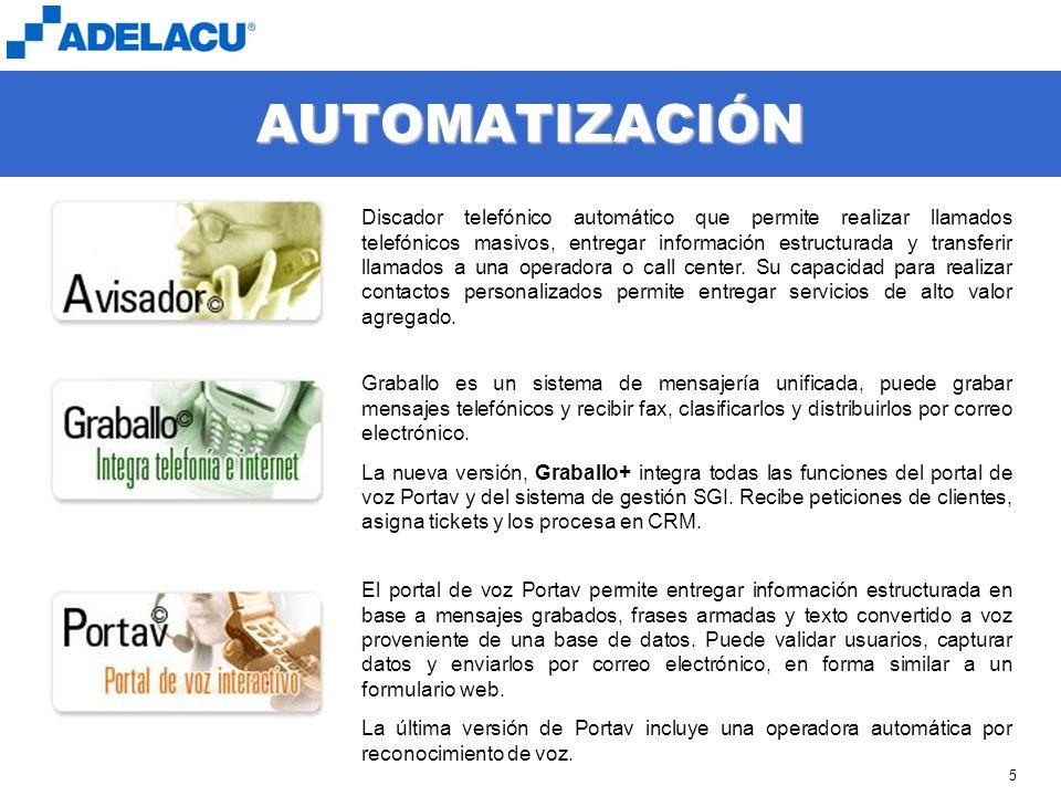 www.adelacu.com 5 AUTOMATIZACIÓN Discador telefónico automático que permite realizar llamados telefónicos masivos, entregar información estructurada y transferir llamados a una operadora o call center.