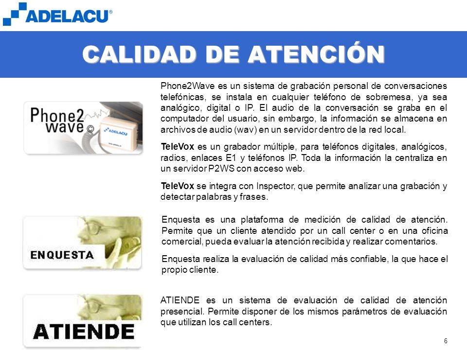 www.adelacu.com 6 CALIDAD DE ATENCIÓN Phone2Wave es un sistema de grabación personal de conversaciones telefónicas, se instala en cualquier teléfono de sobremesa, ya sea analógico, digital o IP.