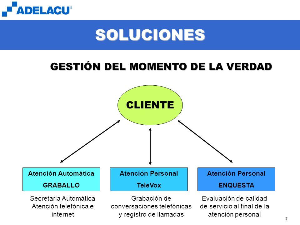 www.adelacu.com 7 SOLUCIONES CLIENTE GESTIÓN DEL MOMENTO DE LA VERDAD Atención Automática GRABALLO Atención Personal TeleVox Atención Personal ENQUEST