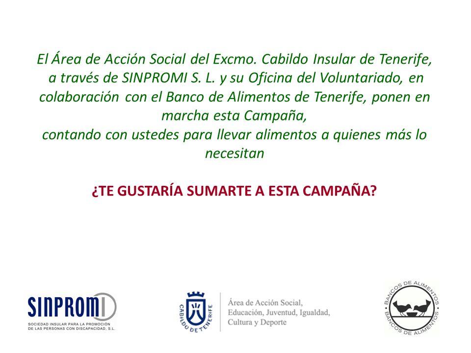 El Área de Acción Social del Excmo.Cabildo Insular de Tenerife, a través de SINPROMI S.
