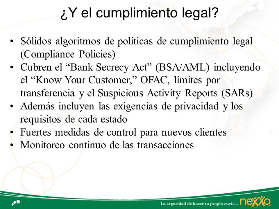 ¿Y el cumplimiento legal? Sólidos algoritmos de políticas de cumplimiento legal (Compliance Policies) Cubren el Bank Secrecy Act (BSA/AML) incluyendo