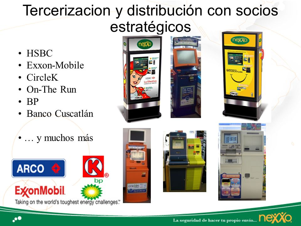 Tercerizacion y distribución con socios estratégicos HSBC Exxon-Mobile CircleK On-The Run BP Banco Cuscatlán … y muchos más