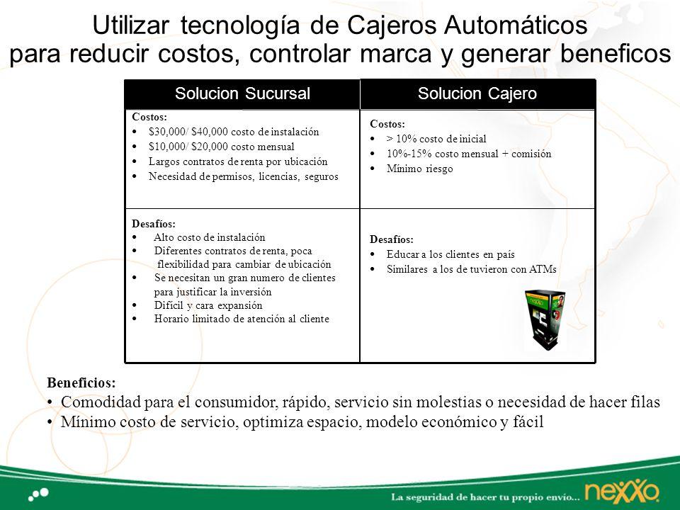 Utilizar tecnología de Cajeros Automáticos para reducir costos, controlar marca y generar beneficos Costos: $30,000/ $40,000 costo de instalación $10,