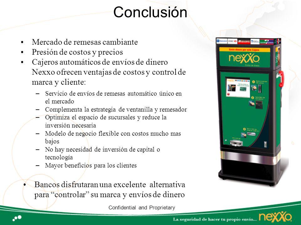 Conclusión Mercado de remesas cambiante Presión de costos y precios Cajeros automáticos de envíos de dinero Nexxo ofrecen ventajas de costos y control