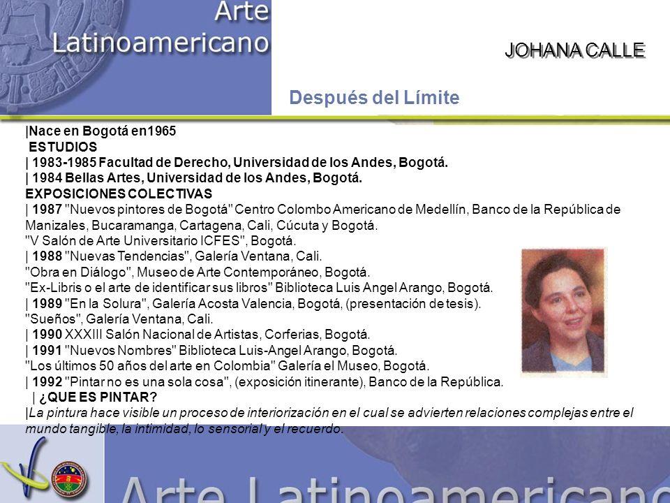 JOHANA CALLE Después del Límite |Nace en Bogotá en1965 ESTUDIOS | 1983-1985 Facultad de Derecho, Universidad de los Andes, Bogotá.