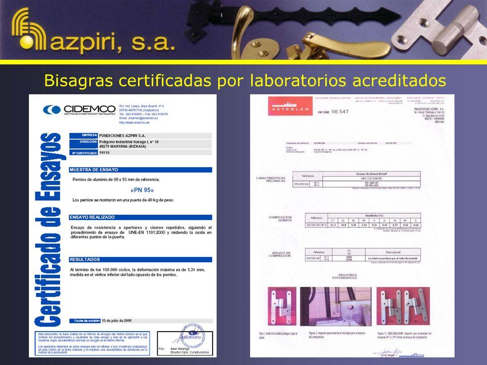Bisagras certificadas por laboratorios acreditados