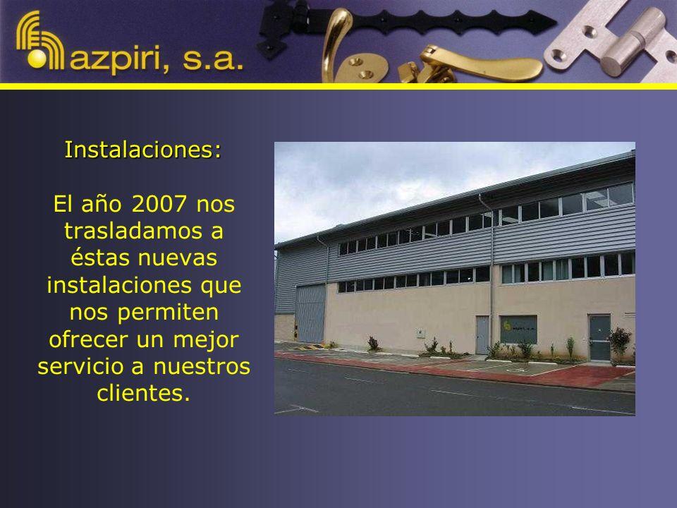 Instalaciones: Instalaciones: El año 2007 nos trasladamos a éstas nuevas instalaciones que nos permiten ofrecer un mejor servicio a nuestros clientes.