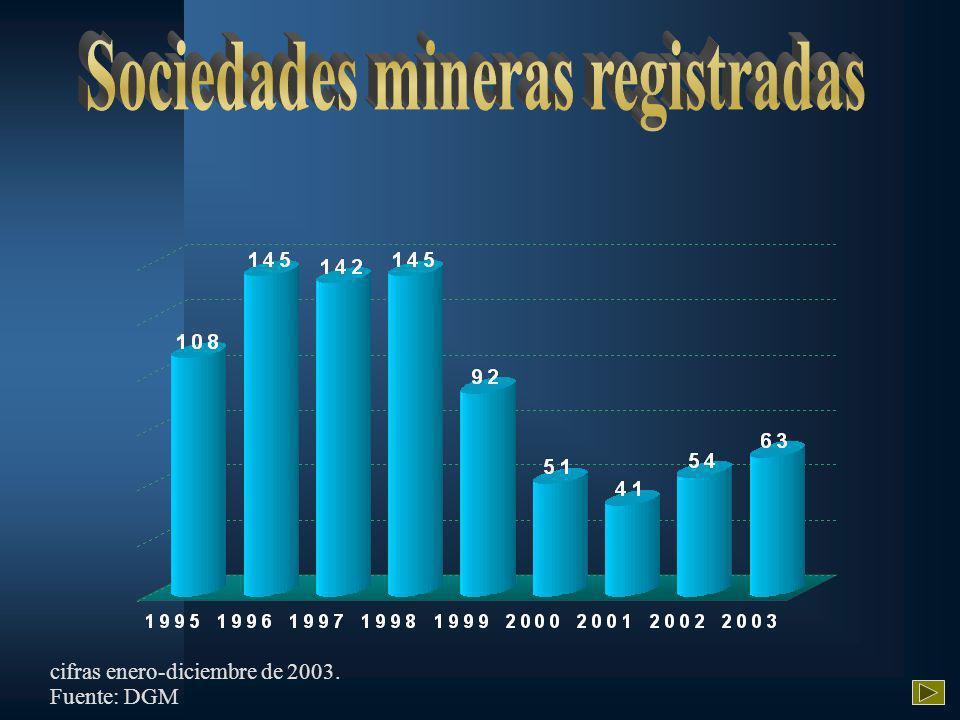 Fuente: DGM cifras enero-diciembre de 2003.