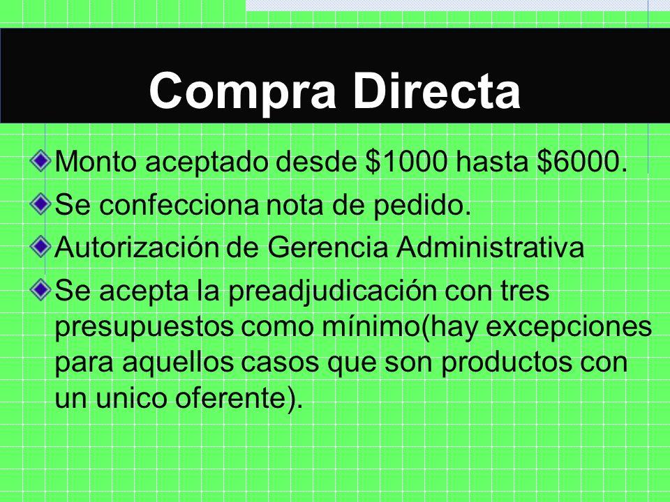 COMPRA DIRECTA Monto aceptado desde $1000 hasta $6000. Se confecciona nota de pedido. Autorización de Gerencia Administrativa Se acepta la preadjudica