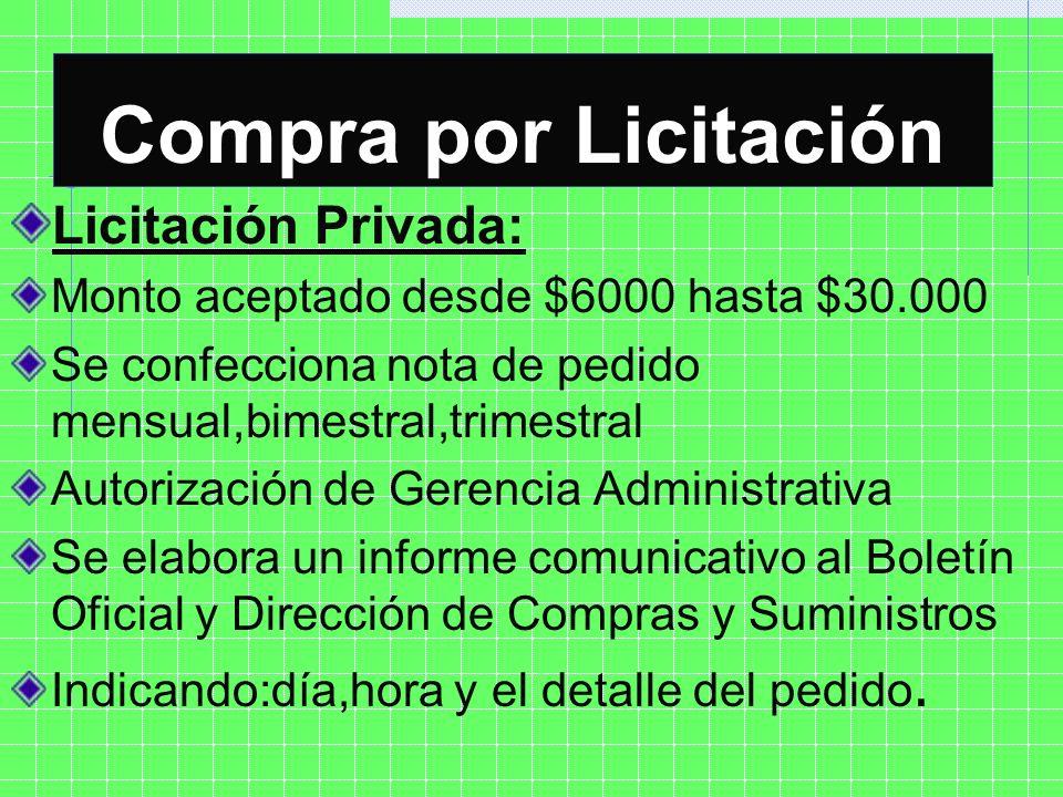 Licitación Privada: Monto aceptado desde $6000 hasta $30.000 Se confecciona nota de pedido mensual,bimestral,trimestral Autorización de Gerencia Admin