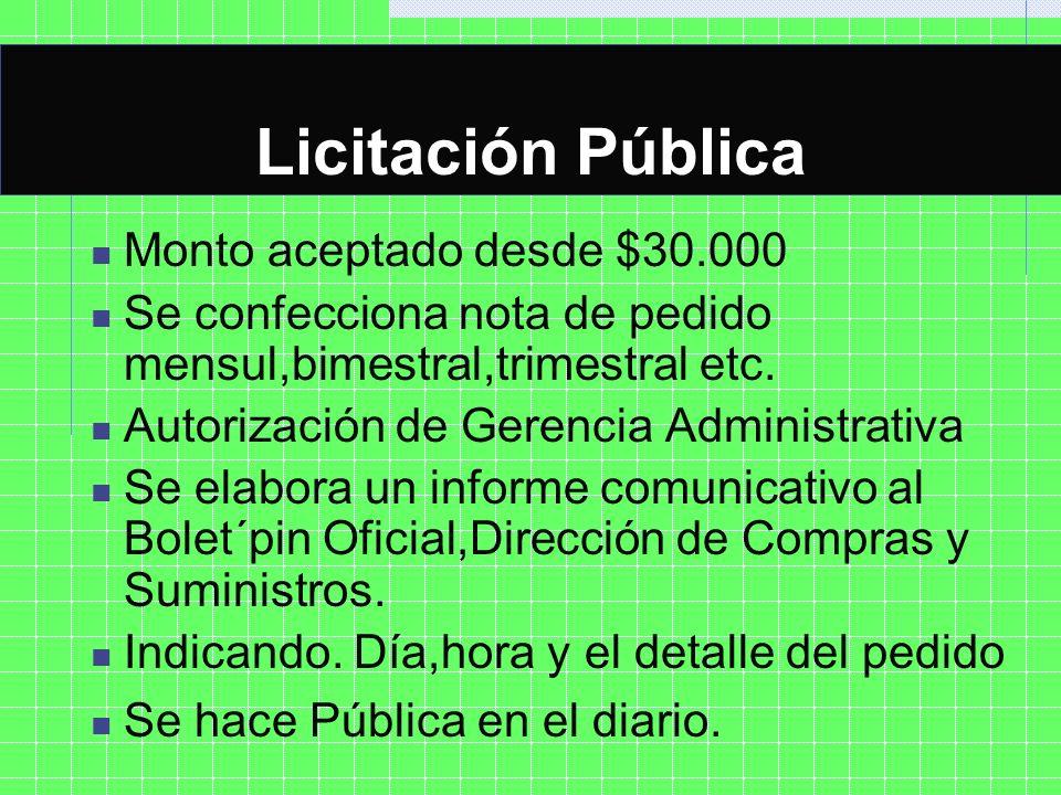 Licitación Pública Monto aceptado desde $30.000 Se confecciona nota de pedido mensul,bimestral,trimestral etc. Autorización de Gerencia Administrativa