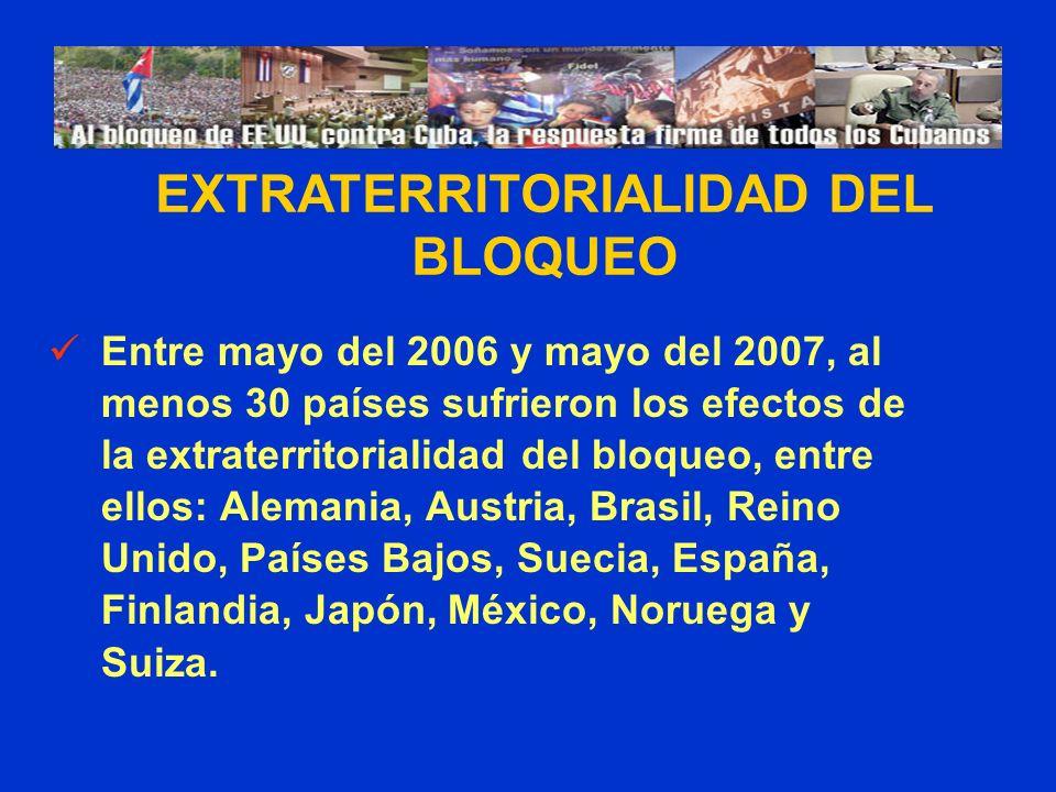 Entre mayo del 2006 y mayo del 2007, al menos 30 países sufrieron los efectos de la extraterritorialidad del bloqueo, entre ellos: Alemania, Austria, Brasil, Reino Unido, Países Bajos, Suecia, España, Finlandia, Japón, México, Noruega y Suiza.