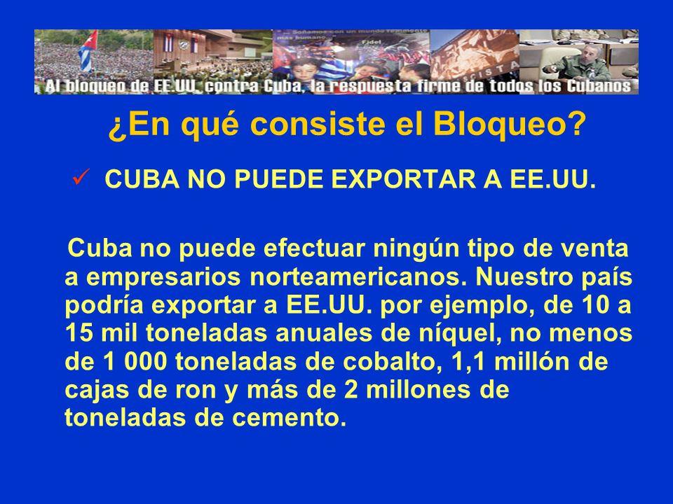 CUBA NO PUEDE EXPORTAR A EE.UU. Cuba no puede efectuar ningún tipo de venta a empresarios norteamericanos. Nuestro país podría exportar a EE.UU. por e