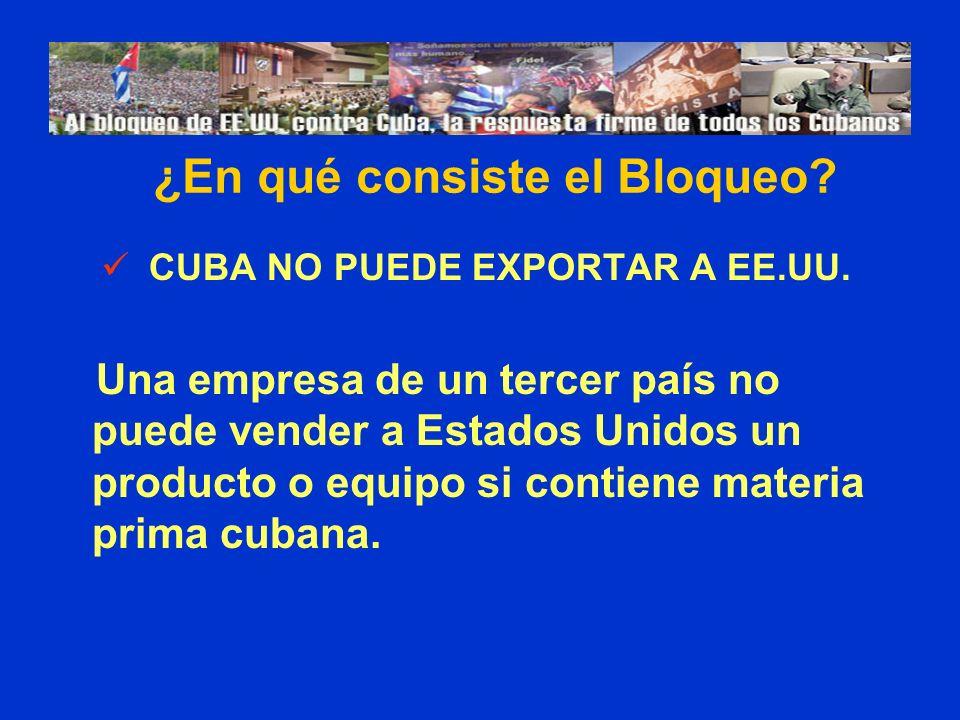 CUBA NO PUEDE EXPORTAR A EE.UU. Una empresa de un tercer país no puede vender a Estados Unidos un producto o equipo si contiene materia prima cubana.