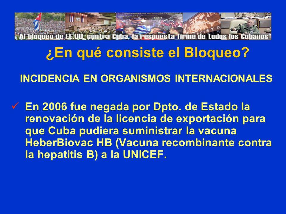 INCIDENCIA EN ORGANISMOS INTERNACIONALES En 2006 fue negada por Dpto. de Estado la renovación de la licencia de exportación para que Cuba pudiera sumi