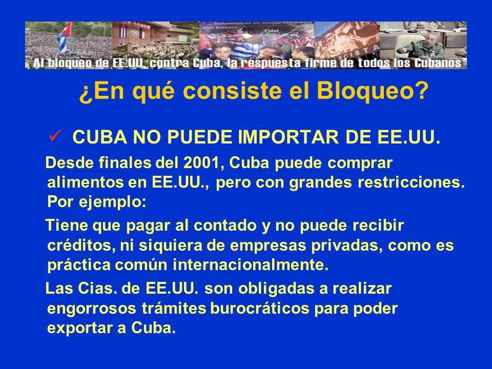 CUBA NO PUEDE IMPORTAR DE EE.UU. Desde finales del 2001, Cuba puede comprar alimentos en EE.UU., pero con grandes restricciones. Por ejemplo: Tiene qu