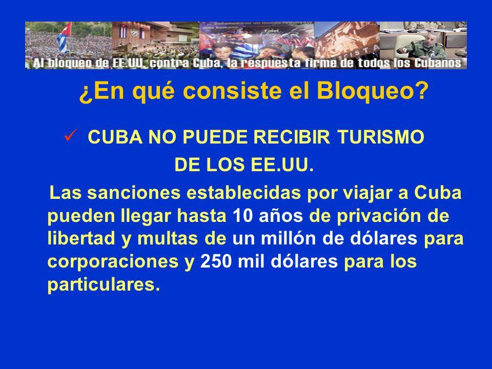 CUBA NO PUEDE RECIBIR TURISMO DE LOS EE.UU. Las sanciones establecidas por viajar a Cuba pueden llegar hasta 10 años de privación de libertad y multas