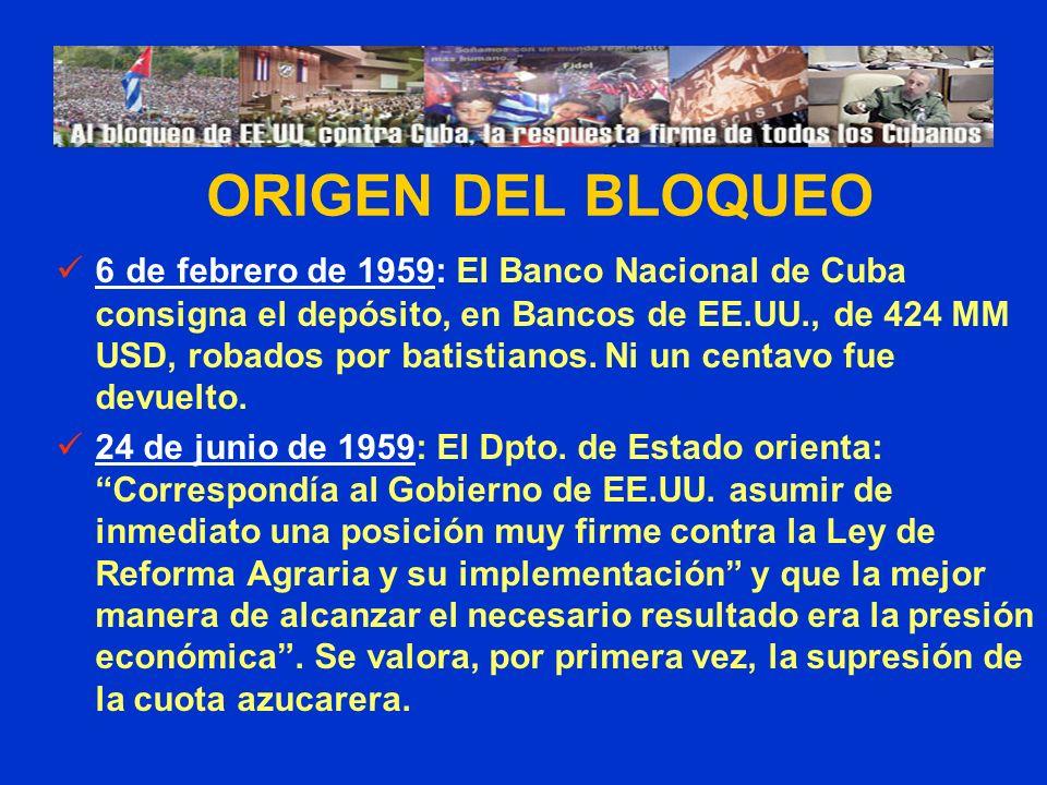 6 de febrero de 1959: El Banco Nacional de Cuba consigna el depósito, en Bancos de EE.UU., de 424 MM USD, robados por batistianos. Ni un centavo fue d