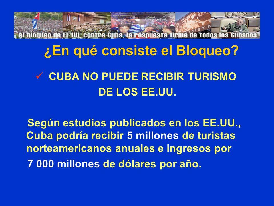 CUBA NO PUEDE RECIBIR TURISMO DE LOS EE.UU. Según estudios publicados en los EE.UU., Cuba podría recibir 5 millones de turistas norteamericanos anuale