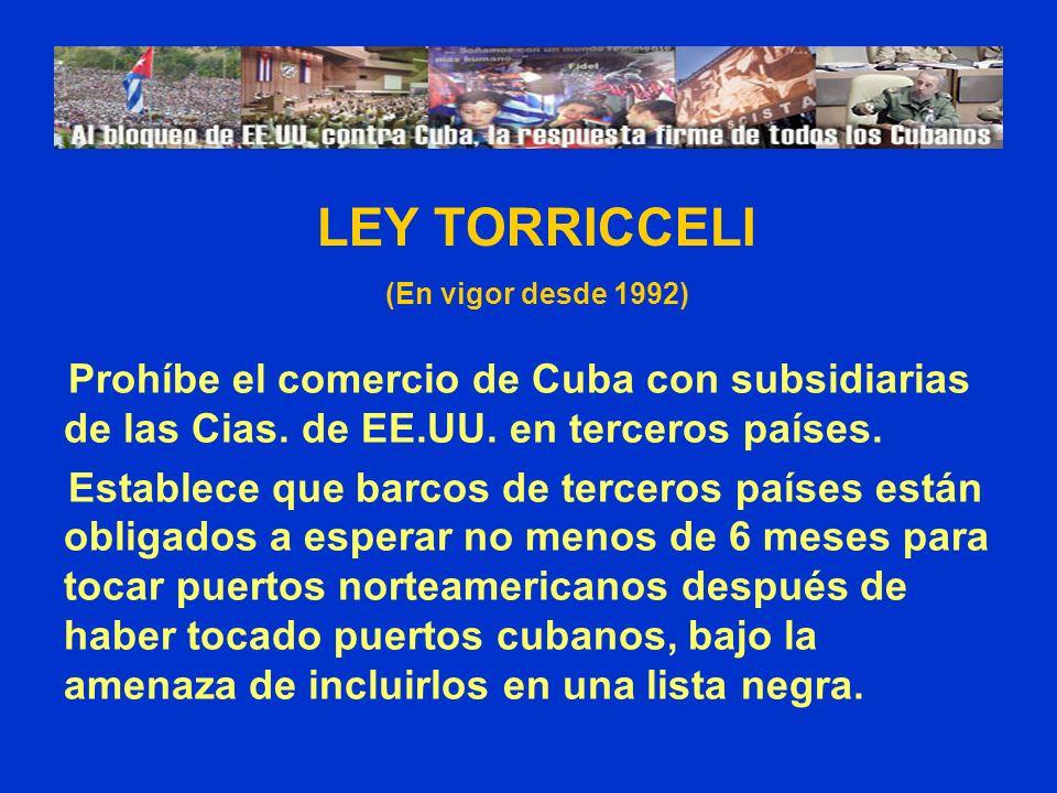 Prohíbe el comercio de Cuba con subsidiarias de las Cias. de EE.UU. en terceros países. Establece que barcos de terceros países están obligados a espe