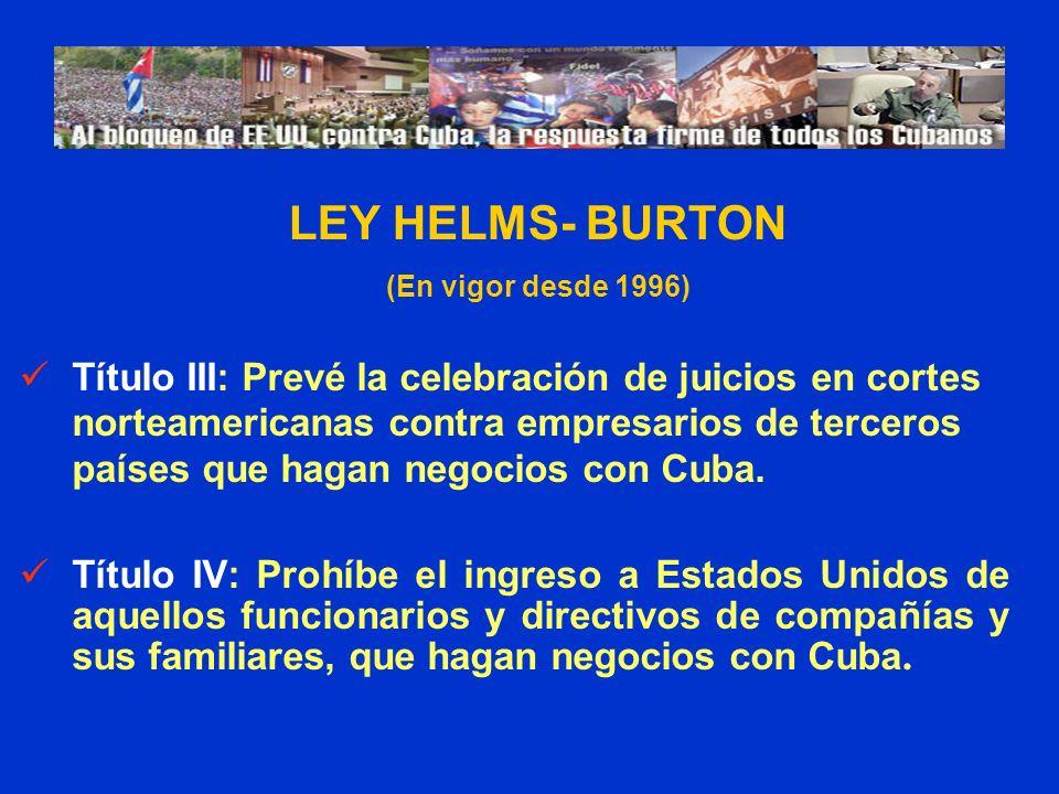 Título III: Prevé la celebración de juicios en cortes norteamericanas contra empresarios de terceros países que hagan negocios con Cuba. Título IV: Pr