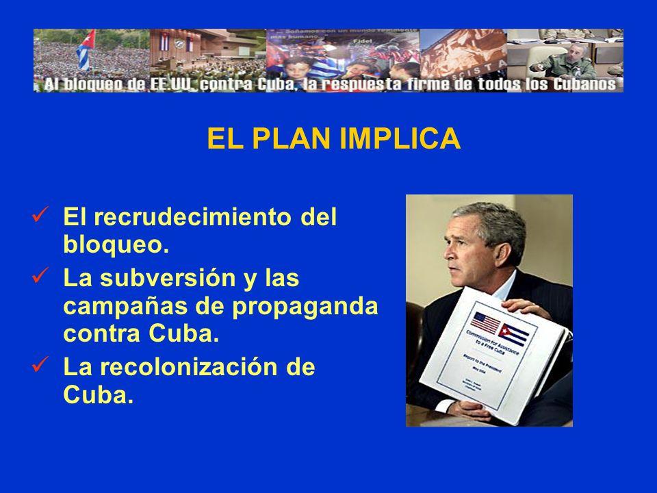 El recrudecimiento del bloqueo. La subversión y las campañas de propaganda contra Cuba. La recolonización de Cuba. EL PLAN IMPLICA