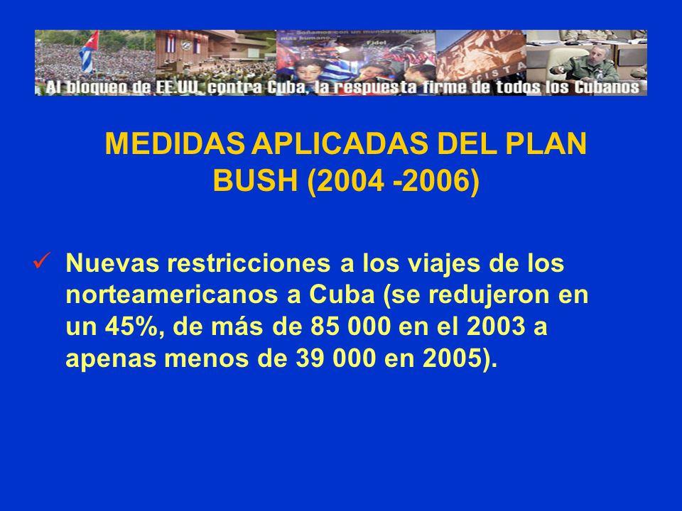 Nuevas restricciones a los viajes de los norteamericanos a Cuba (se redujeron en un 45%, de más de 85 000 en el 2003 a apenas menos de 39 000 en 2005).