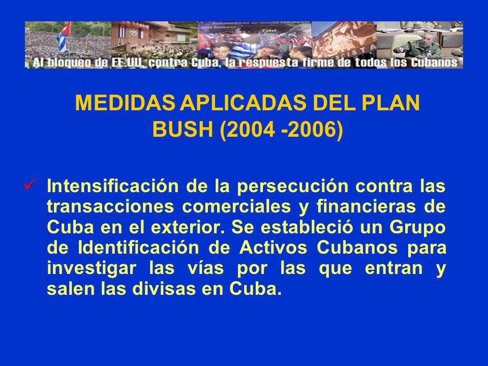 Intensificación de la persecución contra las transacciones comerciales y financieras de Cuba en el exterior. Se estableció un Grupo de Identificación