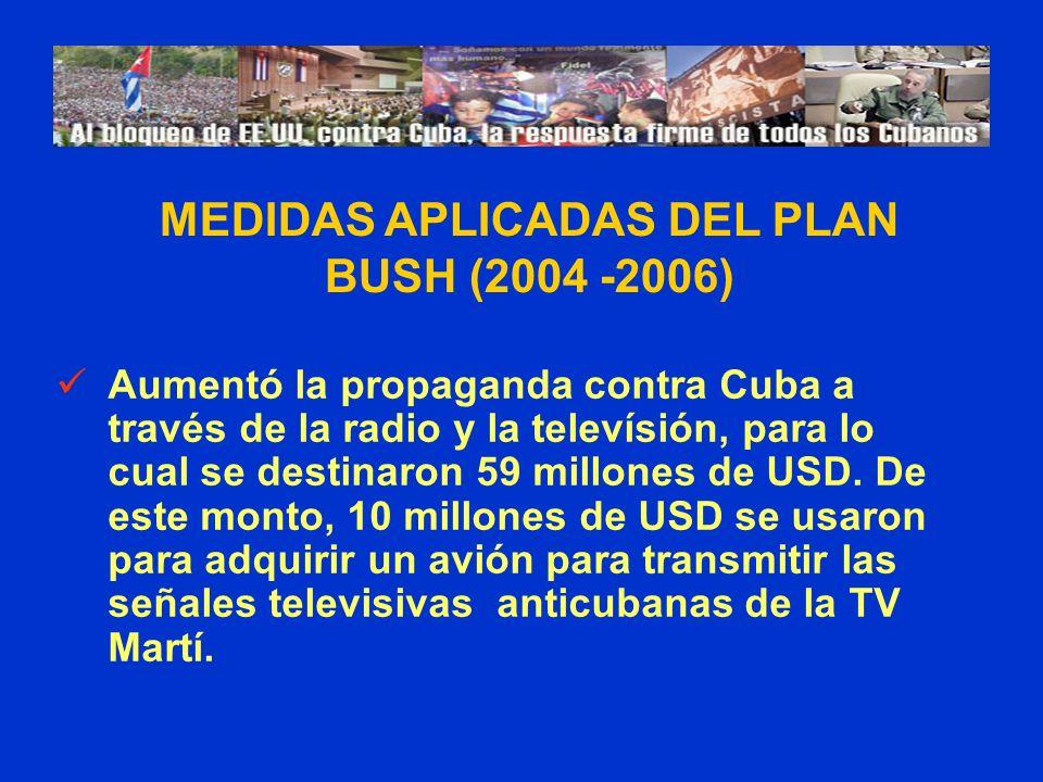 Aumentó la propaganda contra Cuba a través de la radio y la televísión, para lo cual se destinaron 59 millones de USD. De este monto, 10 millones de U