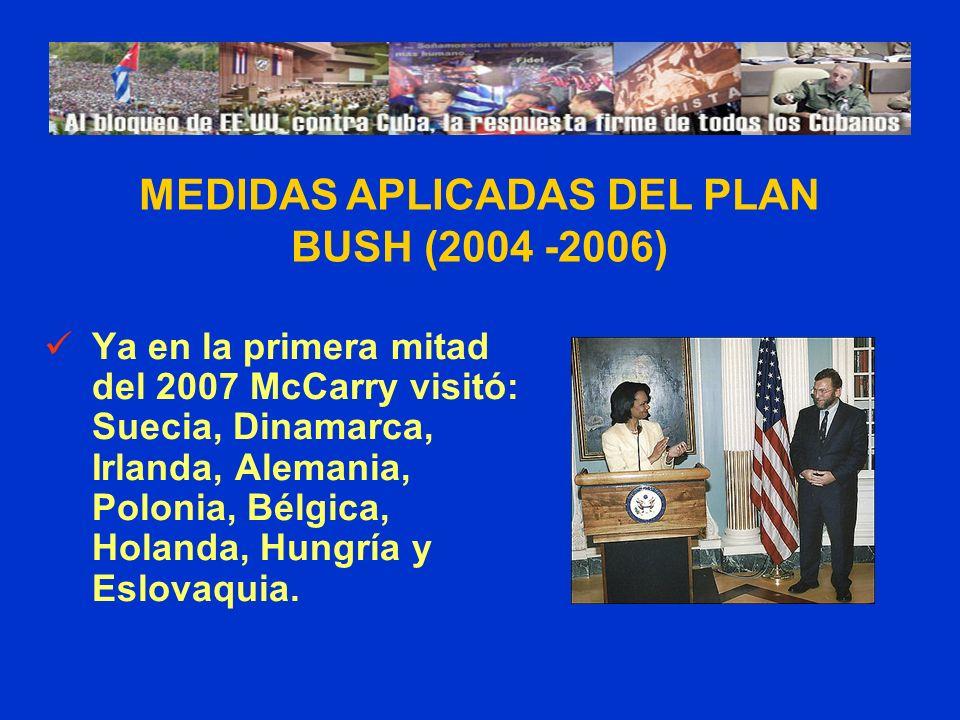 Ya en la primera mitad del 2007 McCarry visitó: Suecia, Dinamarca, Irlanda, Alemania, Polonia, Bélgica, Holanda, Hungría y Eslovaquia. MEDIDAS APLICAD