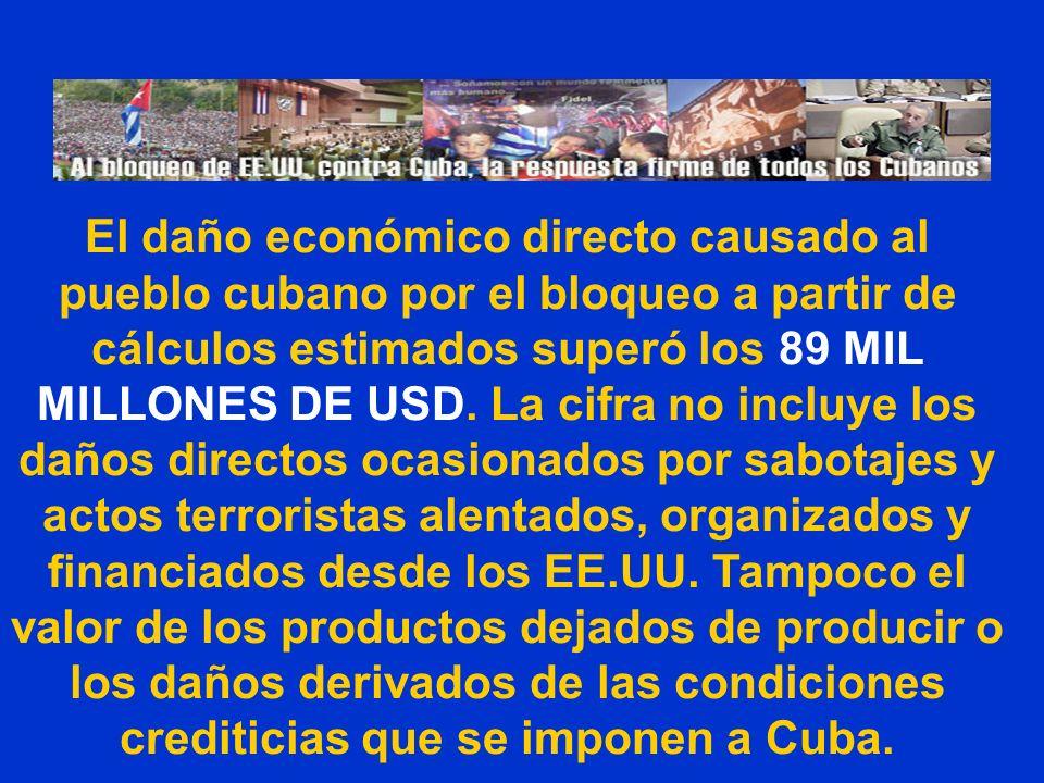 El daño económico directo causado al pueblo cubano por el bloqueo a partir de cálculos estimados superó los 89 MIL MILLONES DE USD. La cifra no incluy