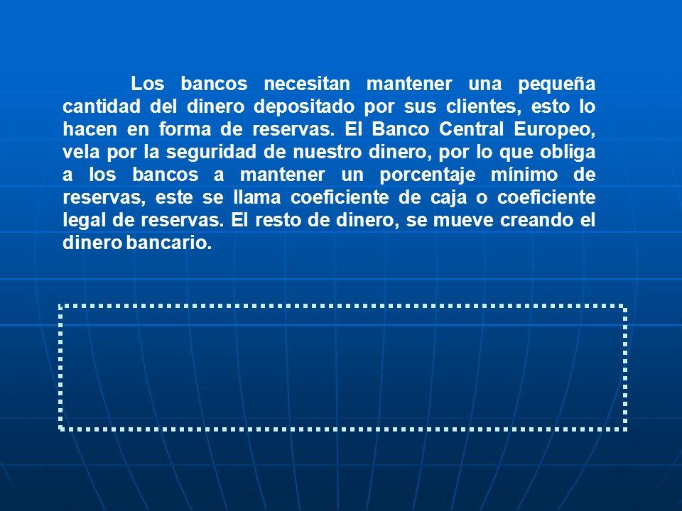 Los bancos necesitan mantener una pequeña cantidad del dinero depositado por sus clientes, esto lo hacen en forma de reservas. El Banco Central Europe