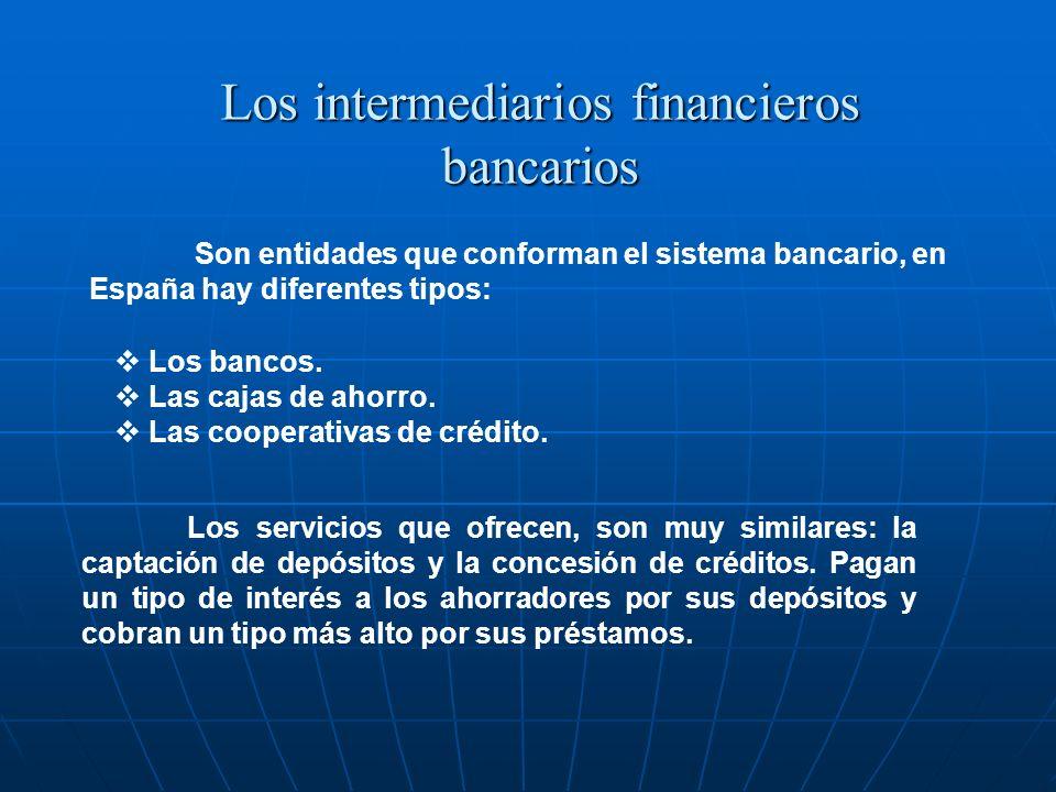 Son entidades que conforman el sistema bancario, en España hay diferentes tipos: Los intermediarios financieros bancarios Los bancos. Las cajas de aho