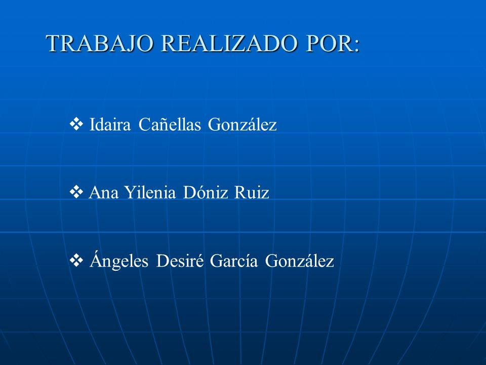 TRABAJO REALIZADO POR: Idaira Cañellas González Ana Yilenia Dóniz Ruiz Ángeles Desiré García González