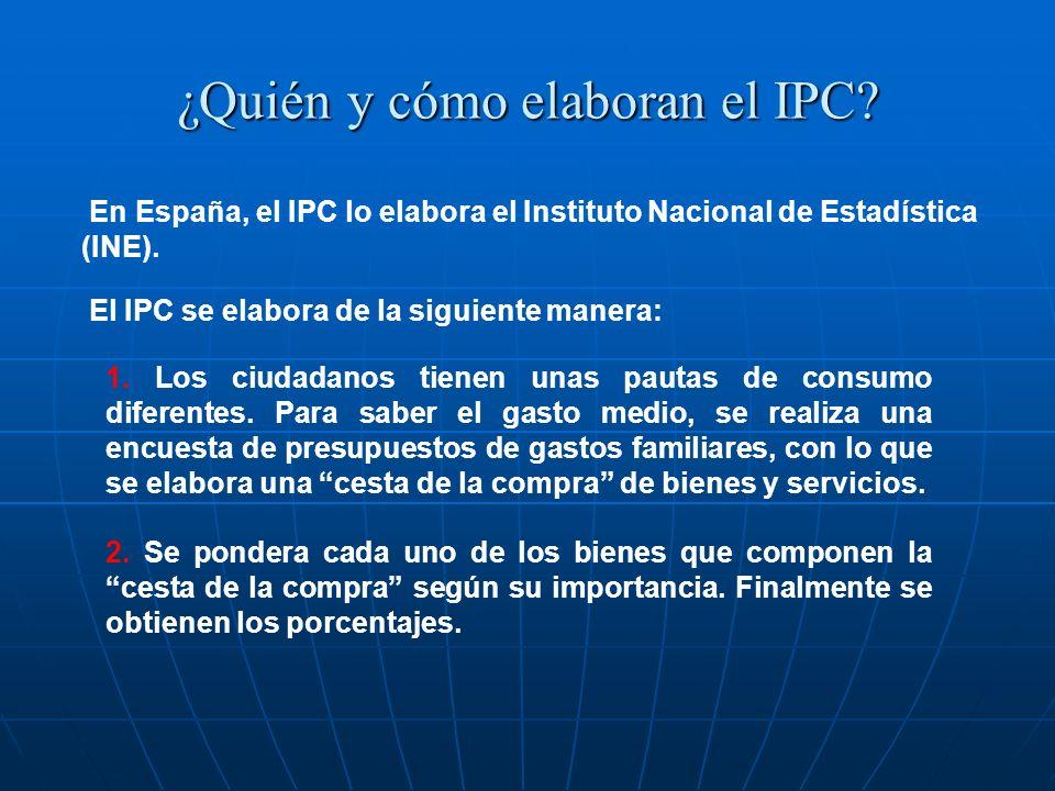 ¿Quién y cómo elaboran el IPC? En España, el IPC lo elabora el Instituto Nacional de Estadística (INE). 1. Los ciudadanos tienen unas pautas de consum