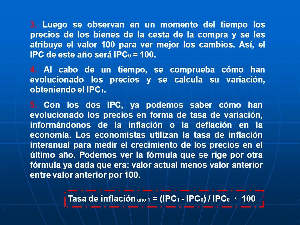 Tasa de inflación año 1 = (IPC 1 - IPC 0 ) / IPC 0 · 100 3. Luego se observan en un momento del tiempo los precios de los bienes de la cesta de la com