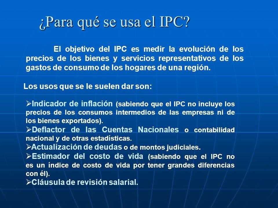 ¿Para qué se usa el IPC? El objetivo del IPC es medir la evolución de los precios de los bienes y servicios representativos de los gastos de consumo d