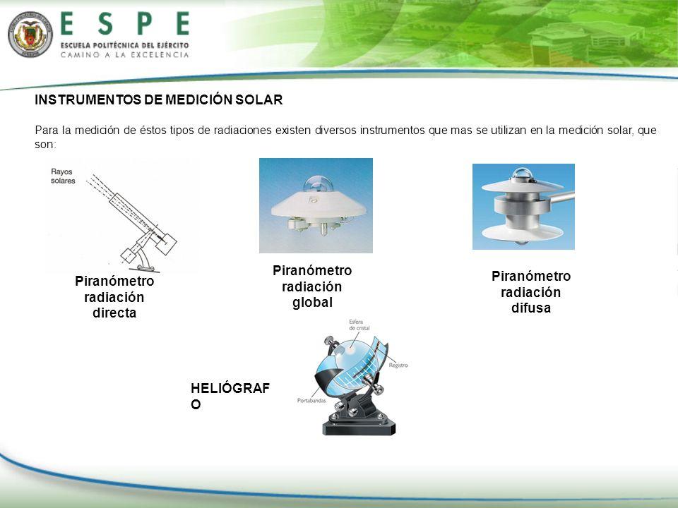 INSTRUMENTOS DE MEDICIÓN SOLAR Para la medición de éstos tipos de radiaciones existen diversos instrumentos que mas se utilizan en la medición solar,