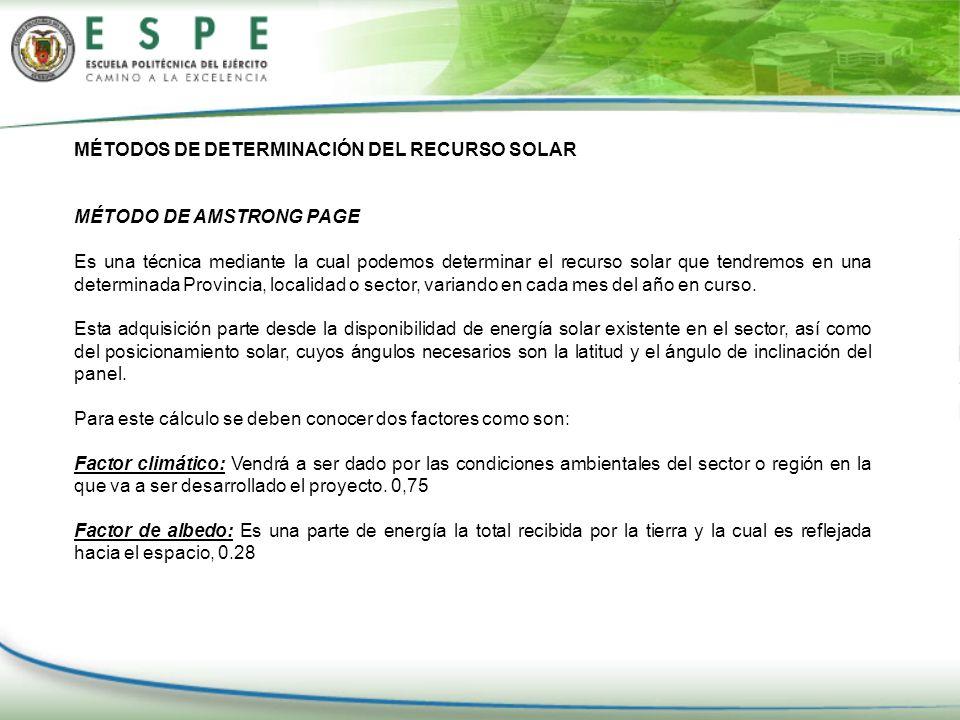 MÉTODOS DE DETERMINACIÓN DEL RECURSO SOLAR MÉTODO DE AMSTRONG PAGE Es una técnica mediante la cual podemos determinar el recurso solar que tendremos e