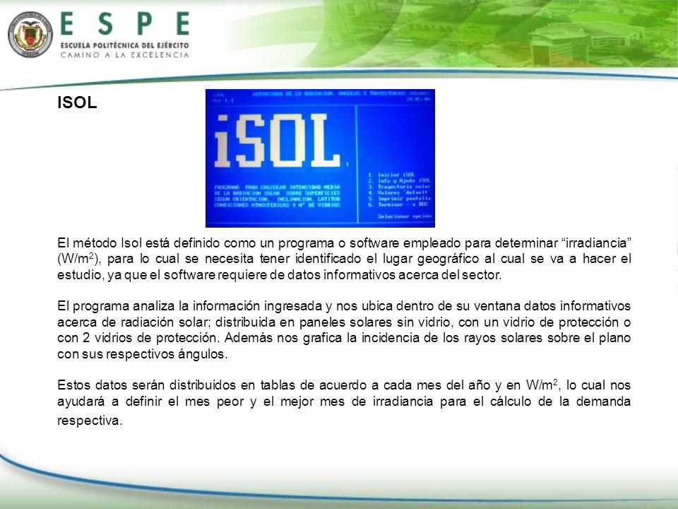 ISOL El método Isol está definido como un programa o software empleado para determinar irradiancia (W/m 2 ), para lo cual se necesita tener identifica