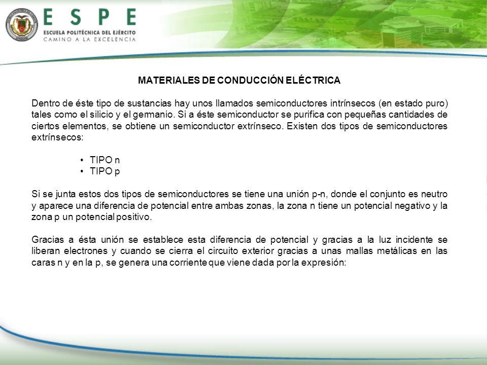 MATERIALES DE CONDUCCIÓN ELÉCTRICA Dentro de éste tipo de sustancias hay unos llamados semiconductores intrínsecos (en estado puro) tales como el sili