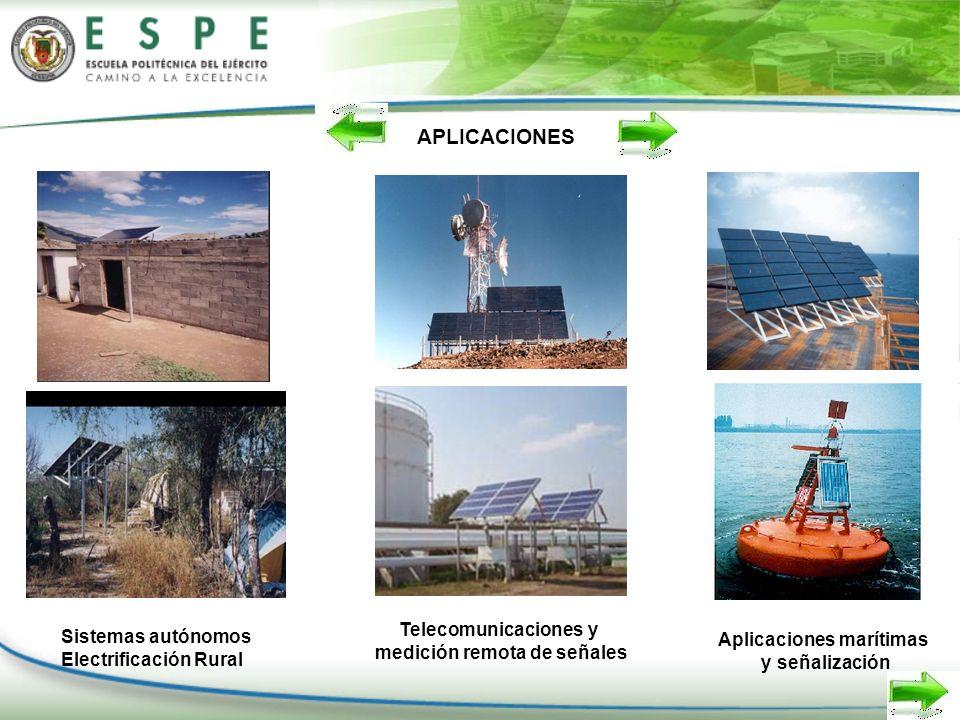 APLICACIONES Sistemas autónomos Electrificación Rural Telecomunicaciones y medición remota de señales Aplicaciones marítimas y señalización