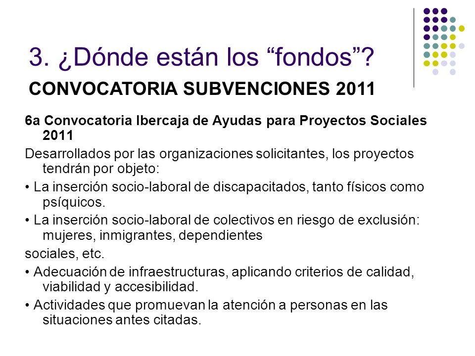 6a Convocatoria Ibercaja de Ayudas para Proyectos Sociales 2011 Desarrollados por las organizaciones solicitantes, los proyectos tendrán por objeto: L