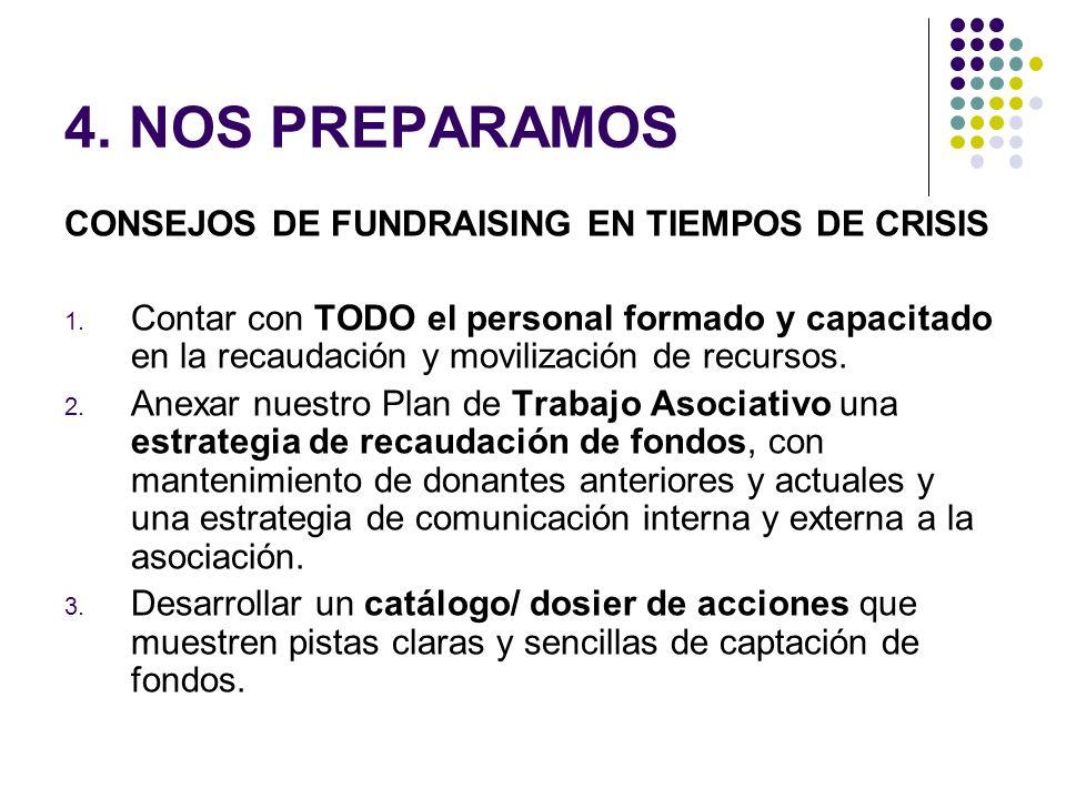 4. NOS PREPARAMOS CONSEJOS DE FUNDRAISING EN TIEMPOS DE CRISIS 1. Contar con TODO el personal formado y capacitado en la recaudación y movilización de