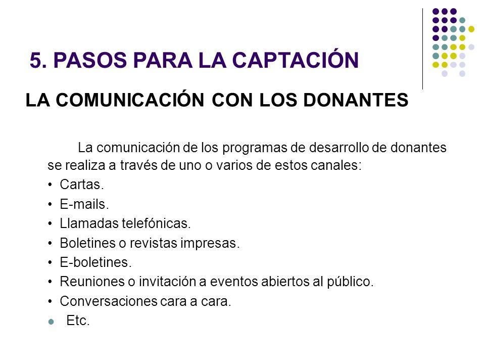LA COMUNICACIÓN CON LOS DONANTES La comunicación de los programas de desarrollo de donantes se realiza a través de uno o varios de estos canales: Cart