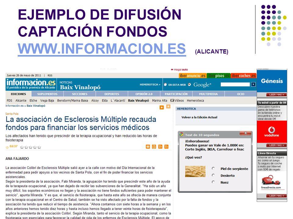 EJEMPLO DE DIFUSIÓN CAPTACIÓN FONDOS WWW.INFORMACION.ES (ALICANTE) WWW.INFORMACION.ES