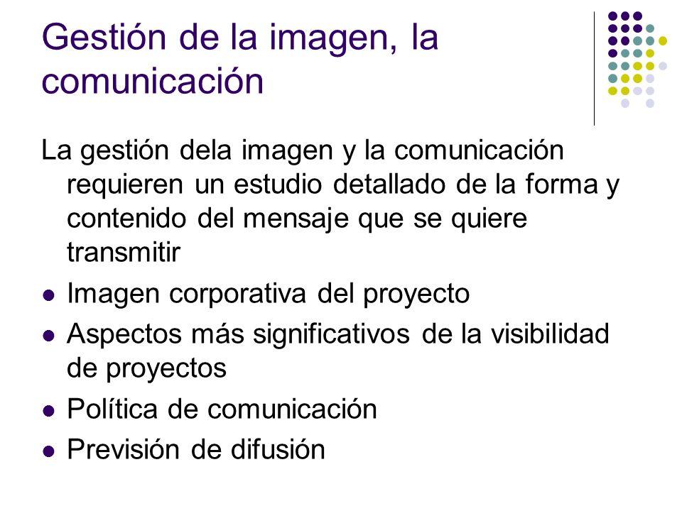 Gestión de la imagen, la comunicación La gestión dela imagen y la comunicación requieren un estudio detallado de la forma y contenido del mensaje que
