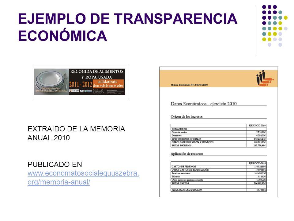 EJEMPLO DE TRANSPARENCIA ECONÓMICA EXTRAIDO DE LA MEMORIA ANUAL 2010 PUBLICADO EN www.economatosocialequuszebra. org/memoria-anual/ www.economatosocia